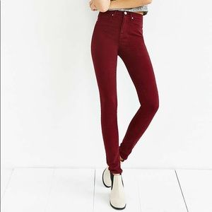 BDG size 26 high rise twig maroon jeans
